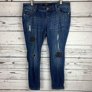 Torrid Distressed Patches & Repair Skinny Jean